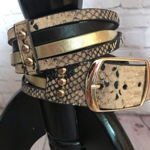 New York & Company snake , black & gold belt